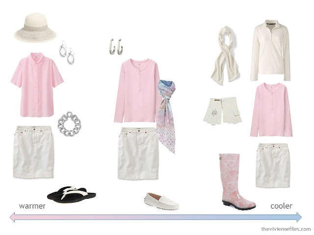 A travel capsule wardrobe in a white, blue, and pink color palette based on art