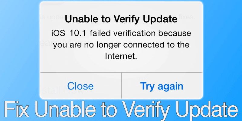 fix unable to verify update