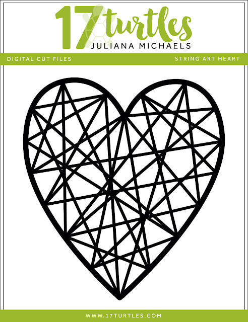 String Art Heart Free Valentine's Day Digital Cut File by Juliana Michaels 17turtles