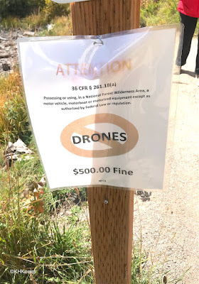 No Drones sign in Maroon Bells
