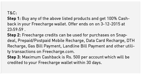 T&C :- Snapdeal 100% Cashback On Books On 3 December 2015 [OFFER For TODAY Only]