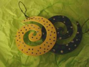 Christmas swirls wood ornaments