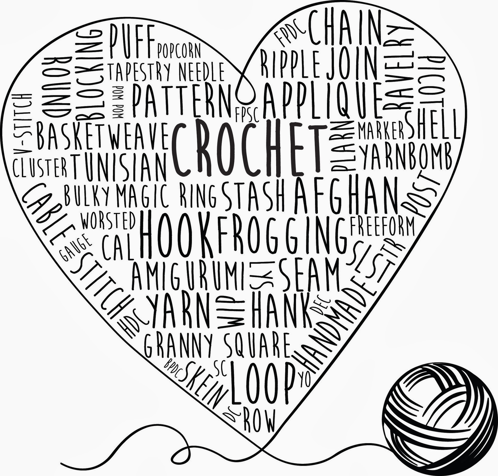 Repeat Crafter Me Crochet Words Printable Art
