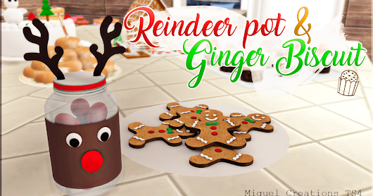 Reindeer pot & Ginger biscuit