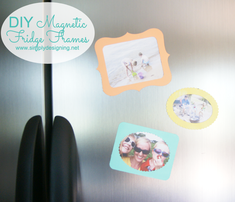 DIY Magnetic Fridge Frames | these are so simple and cute!  A perfect way to display summer photos on your fridge.  Pinning for later! | #magnets #diy #silhouette #decoart #paint #craft