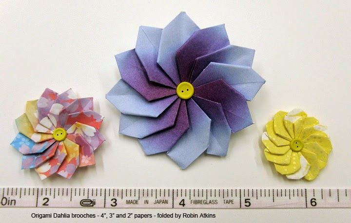 origami Dahlia flowers made with three different sizes of paper