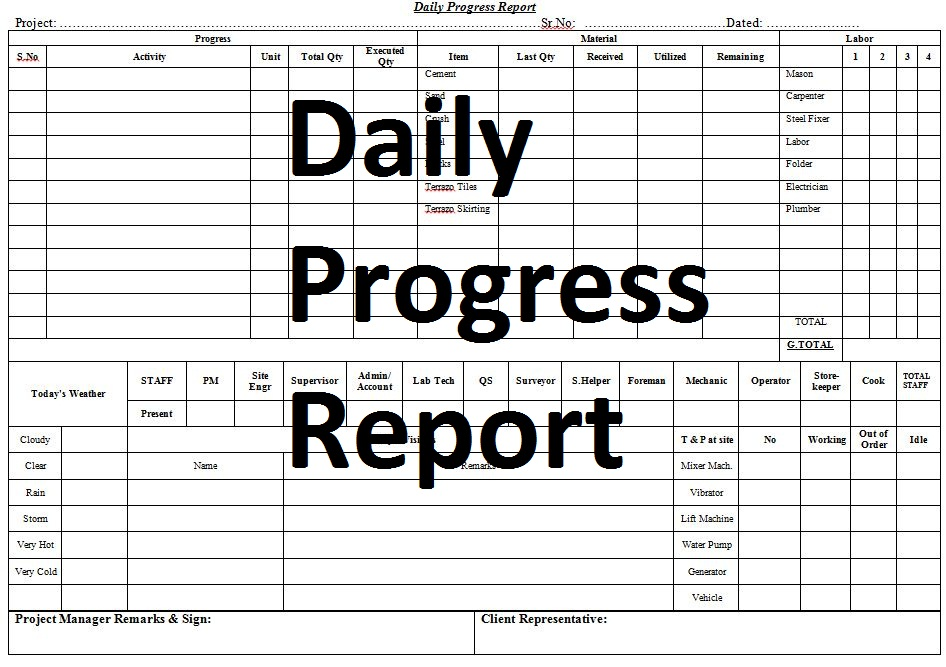 Model Daily Progress Report Template - Civil Engineering Program