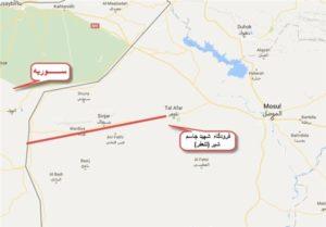 ζώνη των επιχειρήσεων που σχεδιάζει να αναλάβει το PMF από το αεροδρόμιο «Μάρτυρας Jassim Shabir» μέχρι τα συριακά σύνορα