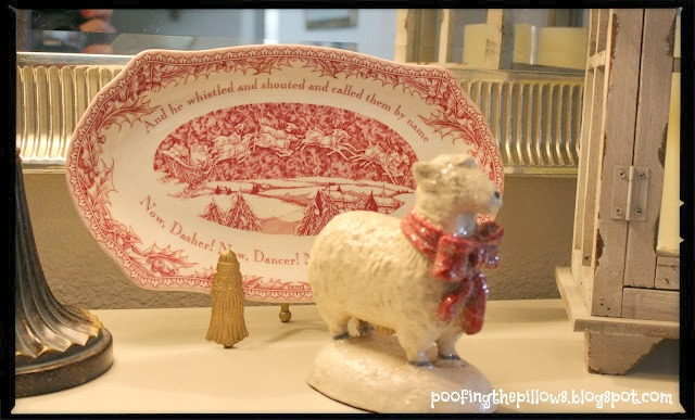 Christmas vignette with china and sweet little lamb
