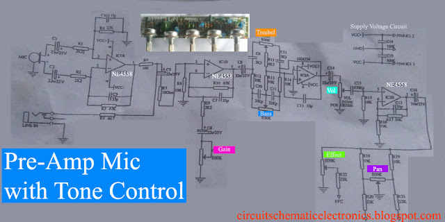 Pre-Amp Mic with Tone Control Circuit diagram
