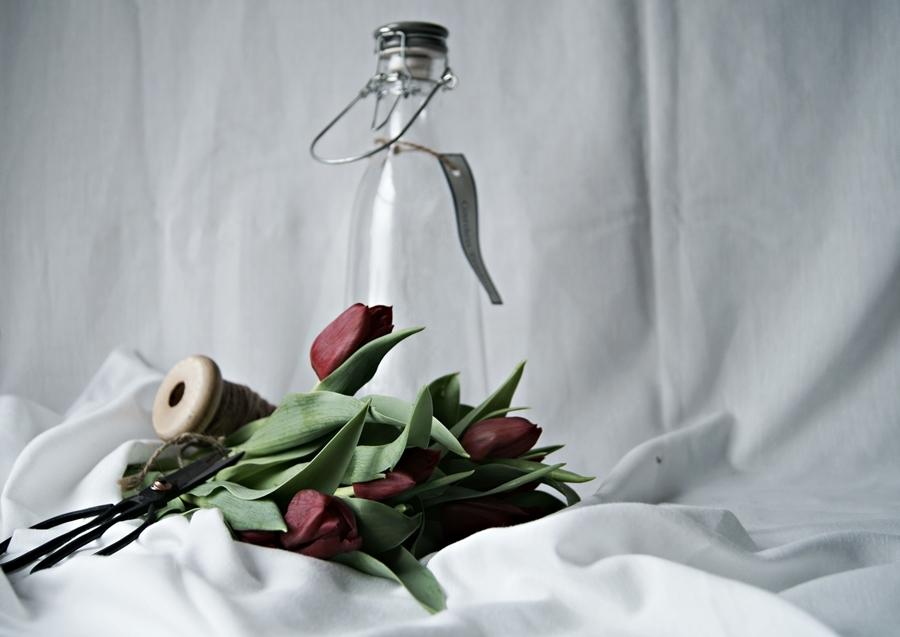 Blog + Fotografie by it's me! - Wohnen - rote Tulpen auf weißen Tüchern