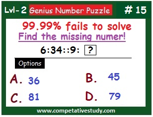 Math Puzzle: Find the missing number: 6 : 34 :: 9 : ?