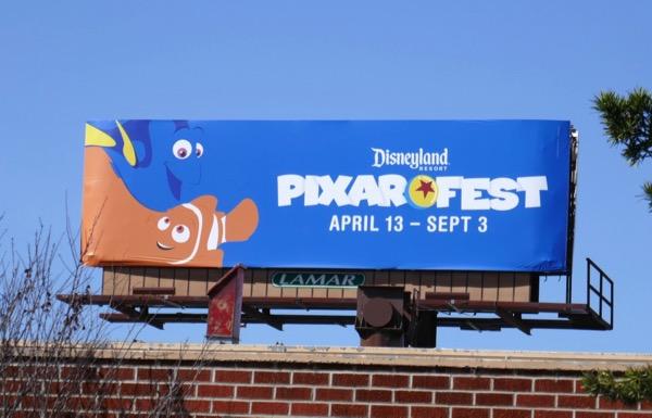 Dory Nemo Pixar Fest Disneyland billboard