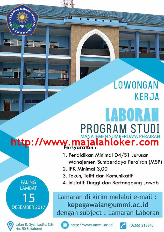 Lowongan Kerja Laboran Prodi Manajemen Sumberdaya Perairan Universitas Muhammadiyah Sukabumi (UMMI)