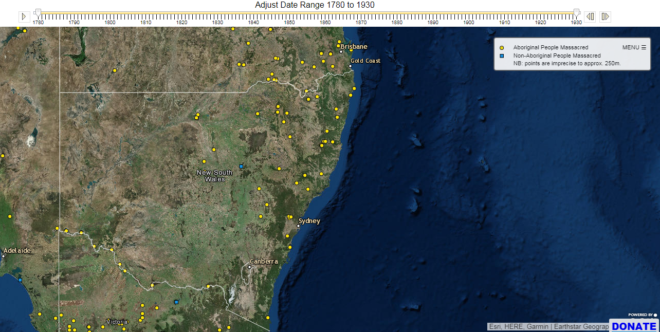 interactive colonial fronteirs map of australia at https c21ch newcastle edu au colonialmassacres map php