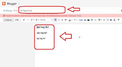 memasukkan keyword ke dalam postingan dengan tag heading