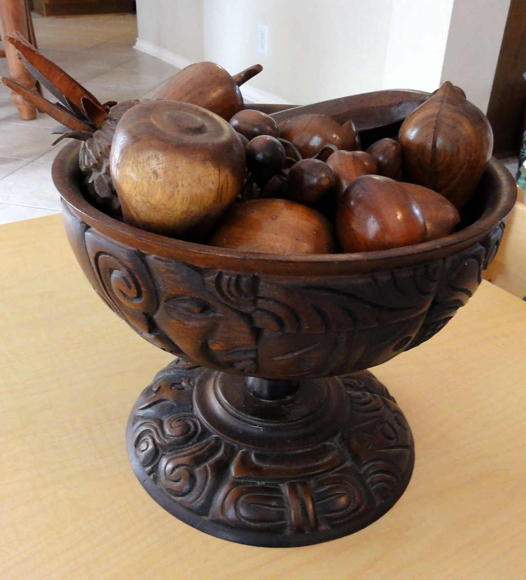 Moving Sale Pre Sale Honduran Carved Wooden Fruit Amp Bowl