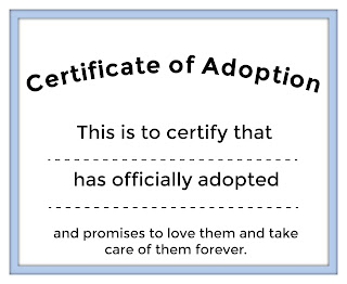 free pet certificate of adoption