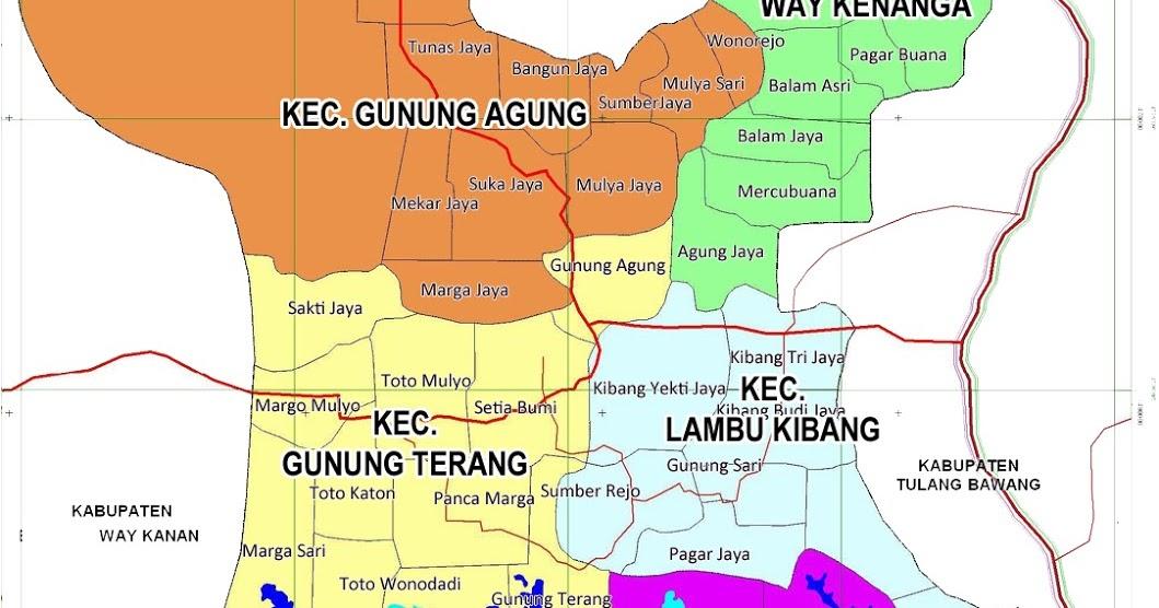 Peta Kabupaten Tulang Bawang Barat