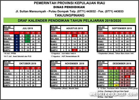 Kalender Pendidikan Provinsi Riau Tahun 2019/2020