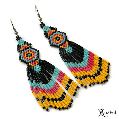 купить Яркие серьги из бисера (этно-стиль) украшения анна белоус