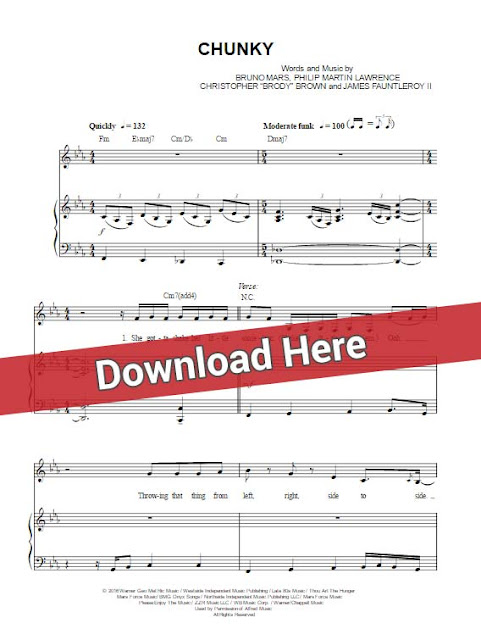 bruno mars, chunky, sheet music, piano notes, chords, download, pdf, klavier noten, free, voice, vocals
