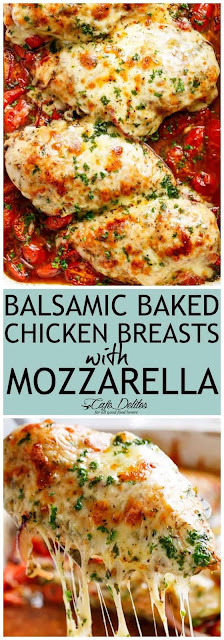 Balsamic Baked Chicken Breast With Mozzarella Cheese