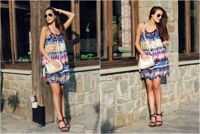 how to wear printed mini dress