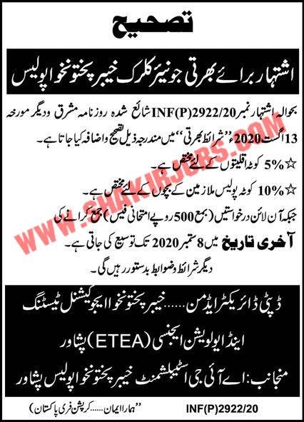 Jobs in Khyber Pakhtunkhwa KPK Police Jobs September 2020