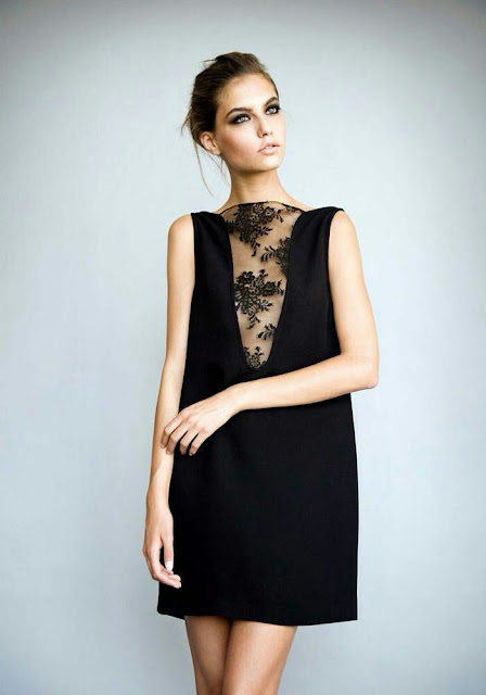 Sleeve-less-sheer-v-neck-black-dress