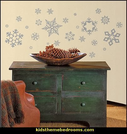 Glitter Snowflakes Peel & Stick Wall Decals  penguin bedrooms - polar bear bedrooms - arctic theme bedrooms - winter wonderland theme bedrooms - snow theme decorating ideas - penguin duvet covers - penguin bedding - winter wonderland party ideas - Christmas
