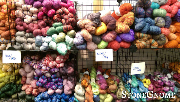 Bright, Colorful Yarn on a Shelve
