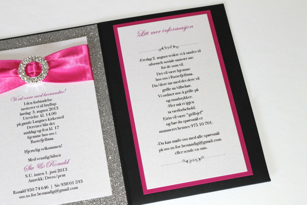 Red Black And Silver Wedding Invitations: Embellished Paperie: Silver Glitter, Hot Pink And Black