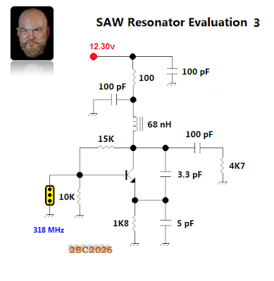 I moved the feedback capacitor to the collector as shown in many SAW resonator datasheets.