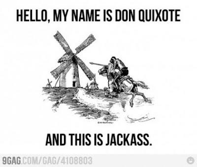 Meme de humor sobre Jackss y El quijote de Cervantes