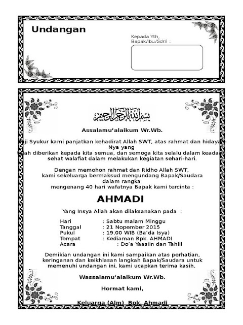 Download Undangan Tahlil 40 Hari MS Word