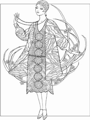 flower dressing coloring pages for adult