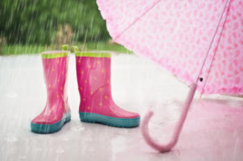 umbrellas and wellies are perfect for playing in the rainy weather