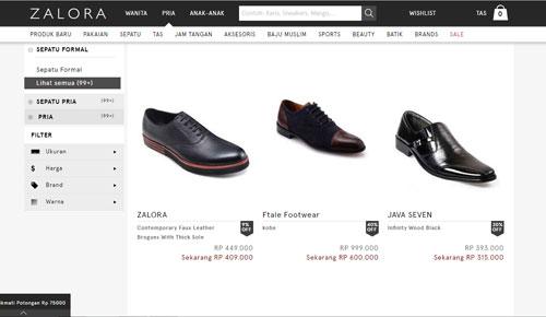 zalora, sepatu pantofel murah diskon berkualitas terbaru