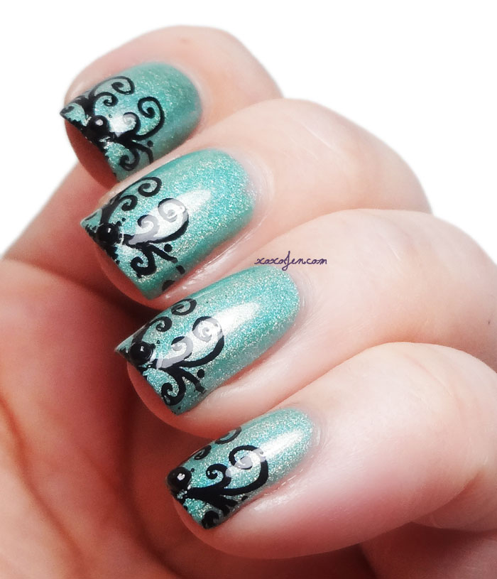 xoxoJen's nail art of Cupcake Polish with QA6 stamping plate
