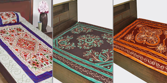 Bed Sheets: Beautifully Designed Handmade Bed Sheets Made On A Cotton  Fabric, Kutch Embroidery. Enhance The Beauty Of Your Bedroom Interiors With  This ...