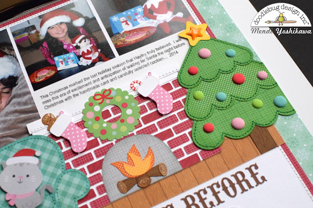 Doodlebug Design Milk & Cookies Twas The Night Before Christmas Scrapbook Layout by Mendi Yoshikawa
