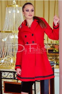 Palton rosu elegant mediu de iarna de calitate