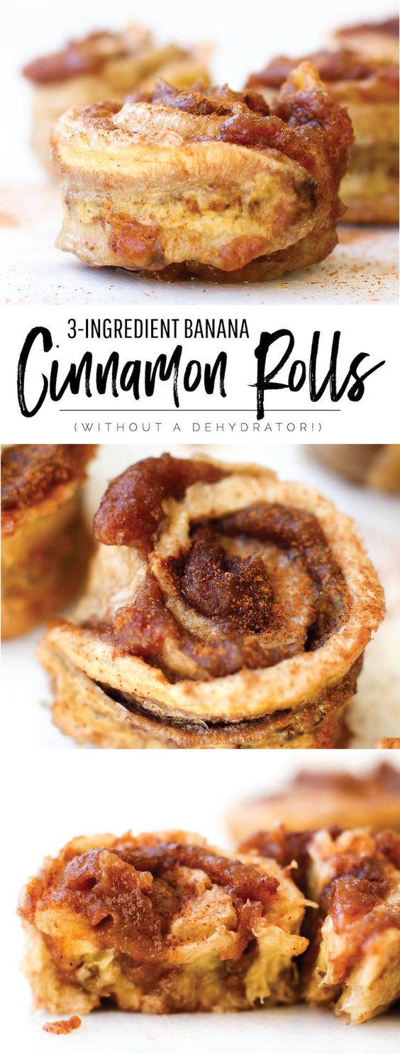 These sticky swirly sweet banana cinnamon rolls are healthier, simpler, and sweeter than any ordinary cinnamon roll, and made in the oven with only fruit!