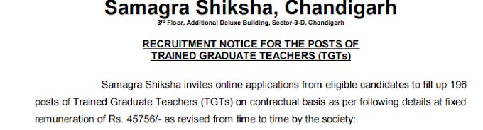 SSA Chandigarh TGT Recruitment 2019-NewTeacher Jobs Last Date Extended