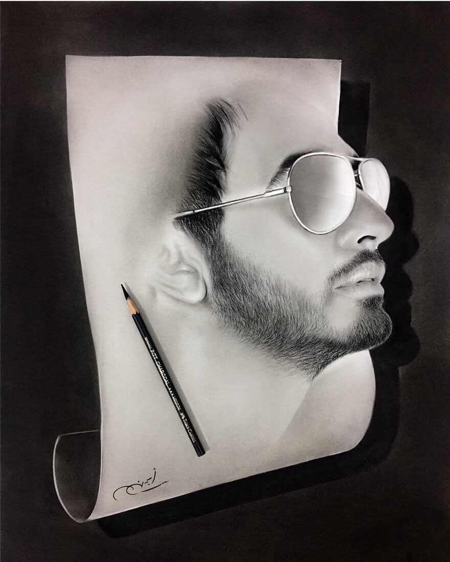 09-Breaking-out-Aymanarts-Realistic-3D-Illusion-Portrait-Drawings-www-designstack-co