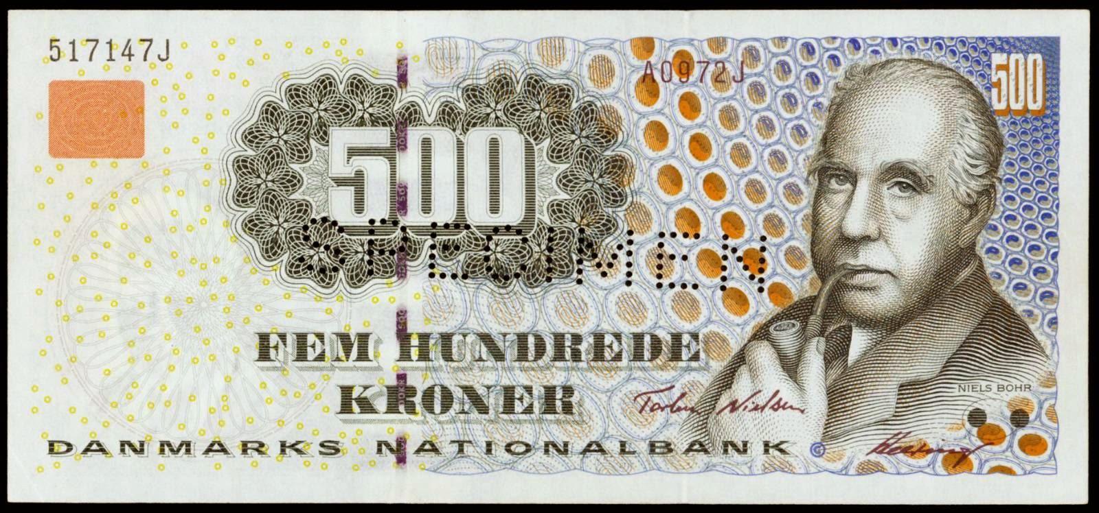 Danmark banknotes 500 Kroner 1997 Niels Bohr