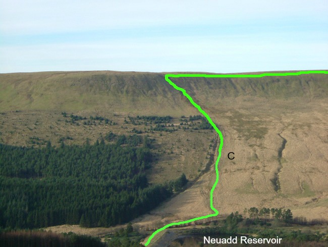 Walks-in-South-Wales-Pen-Y-Fan-image-of-neuadd-reservoir-with-route-marked-in-green