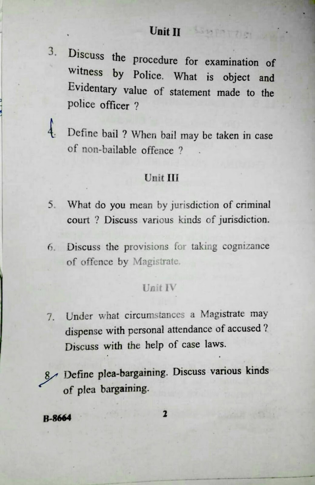 Previous/Last years question paper of Criminal Procedure