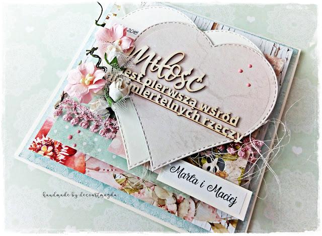 wielowarstwowa kartka z okazji ślubu